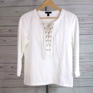 J. Crew off white lace up front pullover top